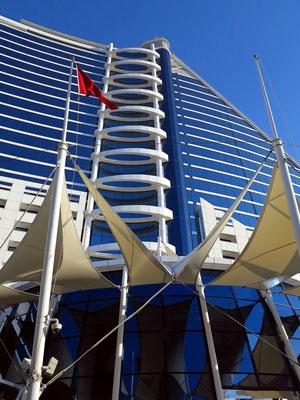 Jumeirah Beach Hotel, rückwärtige Fassadenansicht