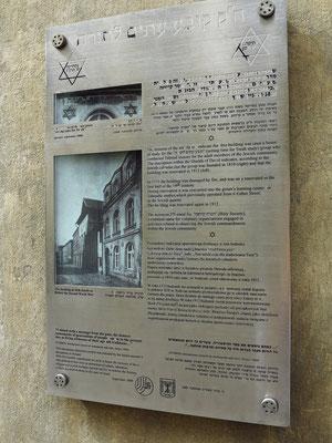 Gedenktafel am ehemaligen jüdischen Haus in der Ul. Józefa 42