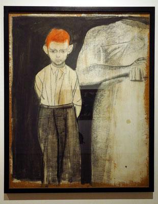 Andrzey Wróblewski (1927 - 1957): Figurative Komposition (Rothaariger Junge mit kopfloser Statue), 1948-1949, Gouache und Sepia auf Papier