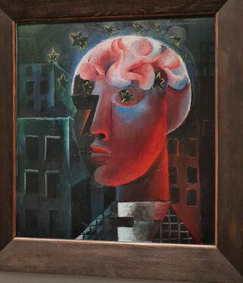 Roter Kopf (Selbstbildnis), 1919, Öl auf Malpappe