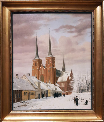 Jørgen Roed (1808-1888, DK): A Street in Roskilde with the Cathedral in the Background. Winter. 1836