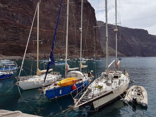 Segelyachten im Hafen von Vueltas, Valle Gran Rey