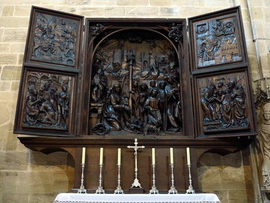 Marien- oder Weihnachtsaltar von Veit Stoß, 1523 (vgl. Altar von Veit Stoß in der Marienkirche in Krakau)