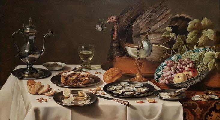 Pieter Claesz: Stilleben mit Truthahn, 1627