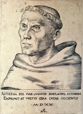 Lucas Cranach d.Ä.: Martin Luther als Mönch, Kupferstich 1520