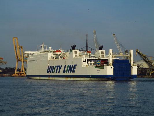 """Fährschiff """"Wolin"""" der polnischen Reederei Unity Line, verbindet Świnoujście mit dem schwedischen Ystad"""