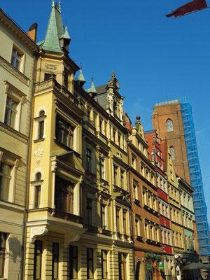 Straße Kurzy Targ mit Blick auf die Türme der Maria-Magdalena-Kirche