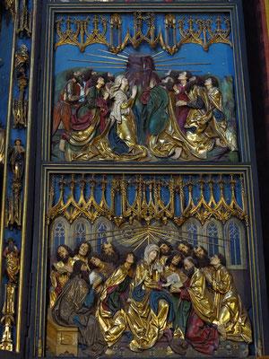 Unterer Teil des rechten Flügels: Christi Himmelfahrt (oben), Ausgießung des Heiligen Geistes (unten)