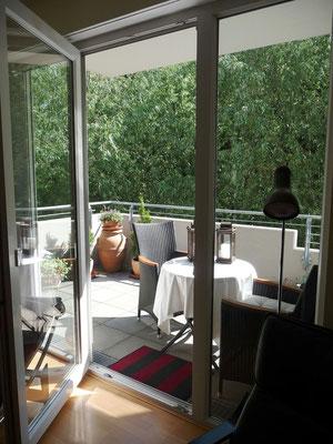 Blick vom Wohnzimmer zum Balkon und zum alten Bahndamm, 10.06.2012