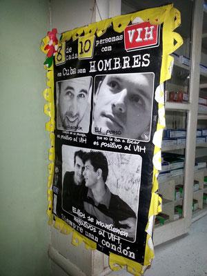 Werbekampagne gegen Aids in der Apotheke von Viñales