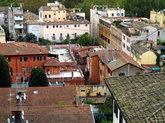 Blick vom Parco del Gianicolo auf die Häuser von Rom