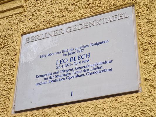 Gedenktafel für den Komponisten und Dirigenten Leo Blech in der Mommsenstraße 6