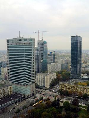 Aussichtsplattform des Kulturpalastes im 30. Stock in 114 Metern Höhe, Blick nach NW