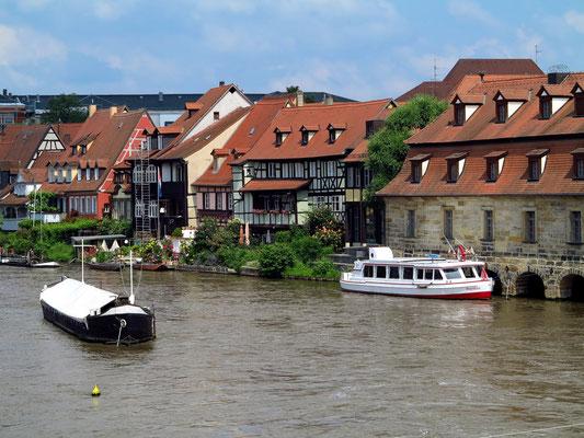 Blick von der Unteren Brücke auf den Linken Regnitzarm mit Klein-Venedig