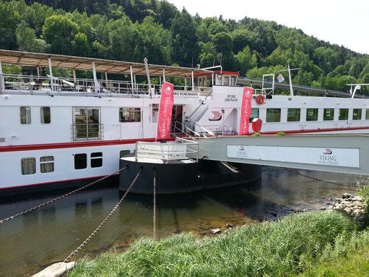 """Ein Fluss-Kreuzfahrtschiff (""""Clara Schumann"""" der Reederei Viking) hat in Bad Schandau angelegt."""