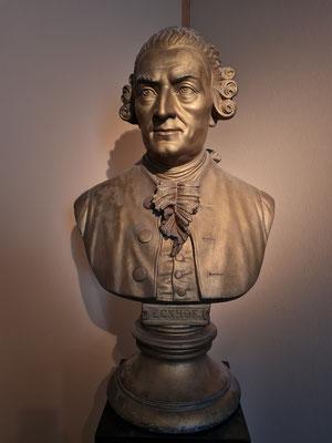 Adalbert Deutschmann: Büste des berühmten Schauspielers und Prinzipals Conrad Ekhof, 1878, Gips bronziert