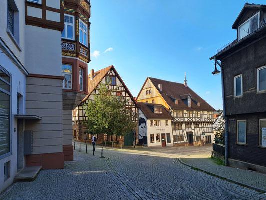 Lutherhaus. eines der ältesten erhaltenen Fachwerkhäuser Thüringens. Hier wohnte Martin Luther nach der Überlieferung bei der Familie Cotta während seiner Schulzeit von 1498 bis 1501.