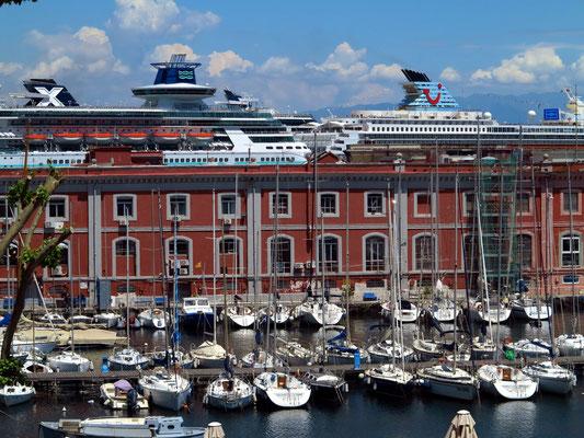 Jachthafen Porticciolo Molosiglio, dahinter Kreuzfahrtschiffe im Porto di Napoli