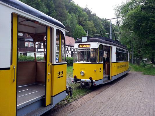 Bad Schandau, historische Straßenbahn durch das romantische Kirnitzschtal zum Lichtenhainer Wasserfall