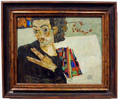 Egon Schiele (1890-1918): Selbstbildnis 1911, Öl auf Holz