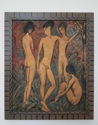 Otto Müller: Zwei Jünglinge und zwei Mädchen, Ei-Tempera auf Sackleinen, ca. 1917
