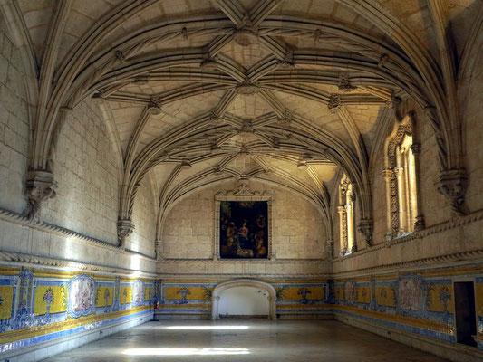 Hieronymus-Kloster (Mosteiro dos Jerónimos), Refektorium mit steinernem Netzgewölbe und schönen Azulejopaneelen