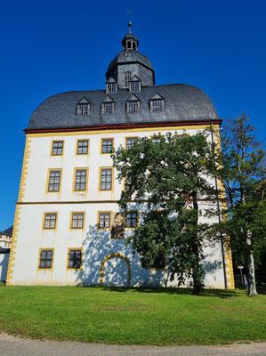 Ostturm von Schloss Friedenstein. Nach einem Brand von 1678 erhielt der Turm 1684 ein Kuppeldach mit Haube.