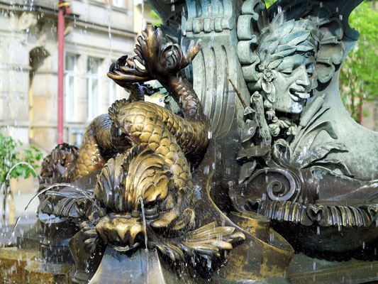 Detail der Brunnenanlage auf dem Marktplatz in Bad Schandau