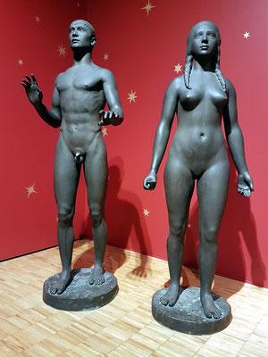 Svend Rathsack (1885-1941, DK): Adam, Newly Created, 1913; Eve 1916-17
