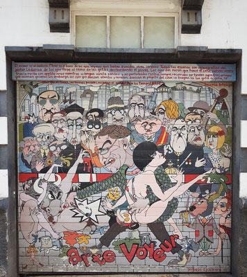 """Wandbild an der Plaza de la Concepción Nr. 6. Arte Voyeur. """"Der Voyeur ist ein Tänzer. Schauen ist der Tanz der Augen..."""" Wandbild von Gervasio Cabrera"""