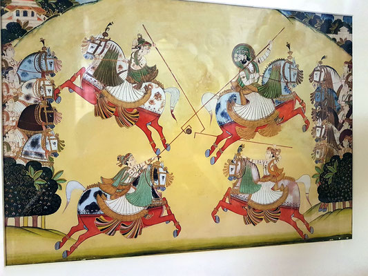 Wandgemälde eines Polo-Turniers