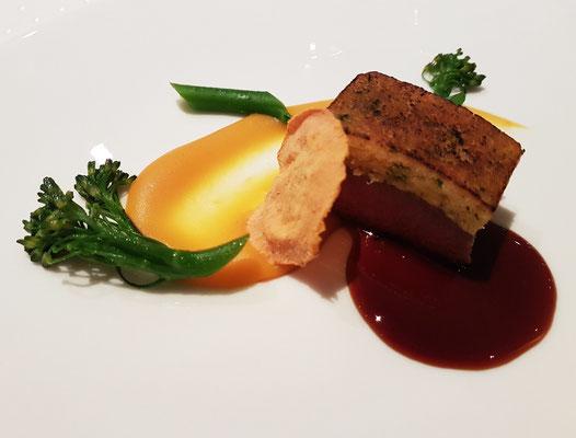 7. Gang: Lammkrone/Kräuterkruste/Süßkartoffel/Madeira