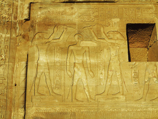 Ibisköpfiger Gott Thot und falkenköpfiger Gott Horus taufen den König