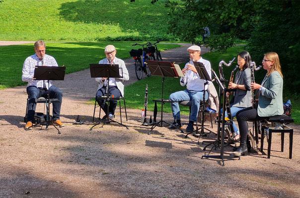 Bläsergruppe der Weimarer Staatskapelle im Park an der Ilm, Konzert im Rahmen des Kunstfestes 2021