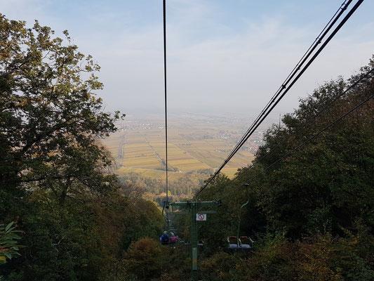 Mit dem Sessellift von der Rietburg bergab zur Talstation