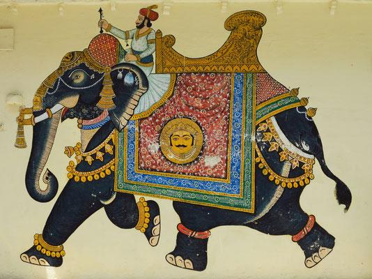 Wandgemälde mit einem geschmückten Elefanten