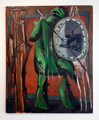 Markus Lüpertz (geb. 1941): Grüner Krieger, Öl auf Leinwand