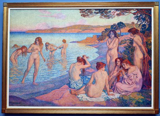 Théo van Rysselberghe (1862-1926): Badende Frauen, ölhaltige Farben auf Gewebe, 1897