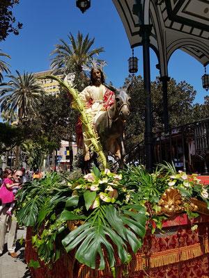 Palmsonntag im Parque San Telmo. (Einzug von Jesus auf dem Esel in Jerusalem)
