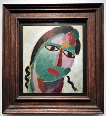 Alexej von Jawlensky (1864-1941): Mystischer Kopf: Roter Mund - grünes Gesicht, 1917, N. 24, Öl über Bleistift auf Malkarton