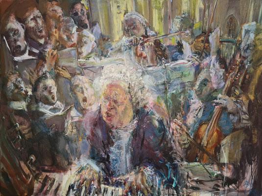 """Bach-Gemälde von Johannes Heisig """"So kämpfet nun, ihr muntern Töne (zu Bach)"""", Mischtechnik auf Leinwand, 2004/05. Heisig war 2004 Stadtgast in Eisenach. Der Titel des Gemäldes ist dem Text einer verschollenen Bachkantate entlehnt."""