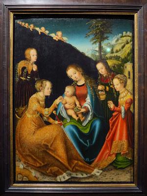 Lucas Cranach der Ältere: Die mystische Heirat der Heiligen Katharina von Alexandrien, 1516-1518
