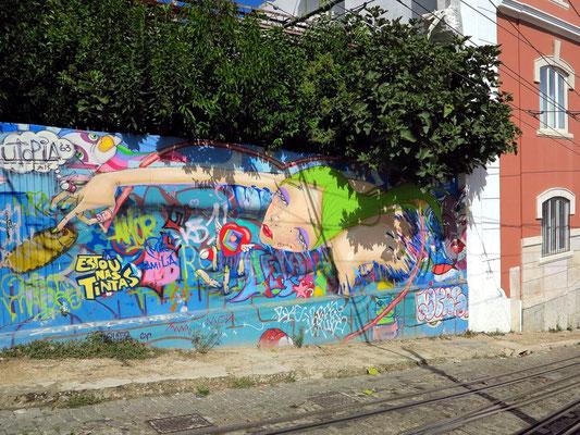 Grafiti am Weg der Standseilbahn