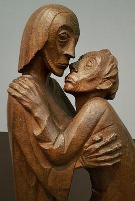 Das Wiedersehen (Thomas und Christus), 1926. Sapeli-Mahagoni (Detail)
