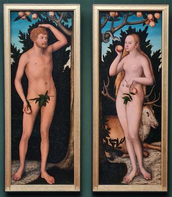 Lucas Cranach der Ältere: Adam und Eva, Öl auf Lindenholz, 1531 (geteilte Doppeltafel, je 170 x 70 cm)