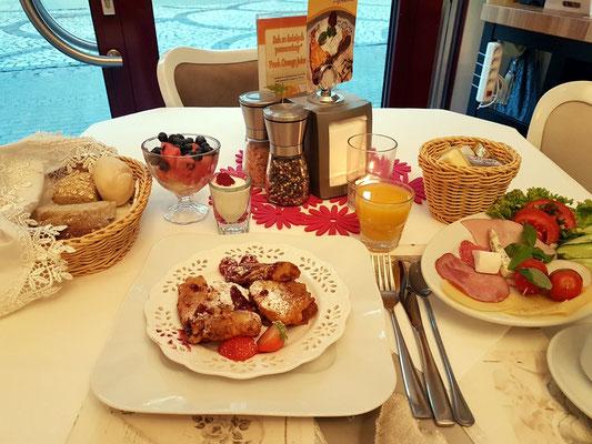 Mein Frühstücksplatz am 17.9.2020 im Hotel Ottaviano in Świnoujście