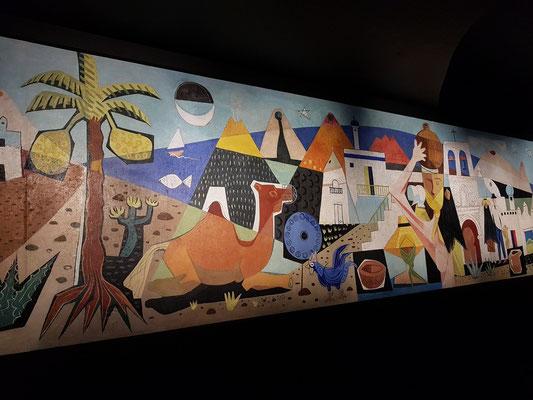 Wandgemälde von 1955 in einem Raum für Wanderausstellungen (Einweihung 1994)