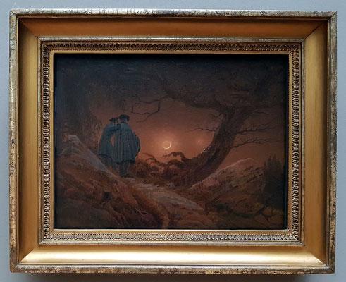 Caspar David Friedrich (1774-1840): Zwei Männer in Betrachtung des Mondes, 1819/20, Öl auf Leinwand