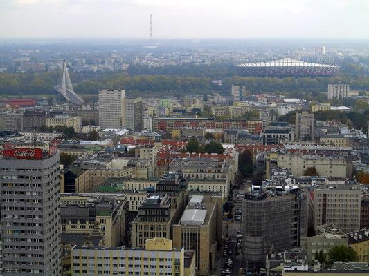 Blick von der Aussichtsplattform des Kulturpalastes nach O: im Hintergrund das Stadion Narodowy