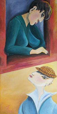"""""""Der Leopardenhut"""", Tempera auf Leinwand, 1992, 80 x 160 cm"""